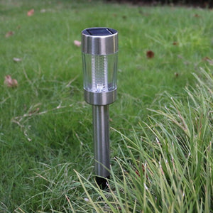 Decorative Practical Stainless Steel Garden Modern Solar Powered Easy Install Super Bright Led Eco Friendly Spike Lawn Lamp - AFH Home Decore
