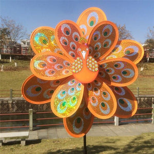 New Double Layer Peacock Laser Sequins Windmill Colorful Wind Spinner Kids Toy - AFH Home Decore