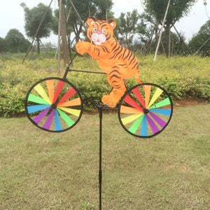 Rabbit Bee Tiger on Bike DIY Windmill Animal Bicycle Wind Spinner Whirligig Garden Lawn Decorative Gadgets Kids Outdoor Toys G22 - AFH Home Decore