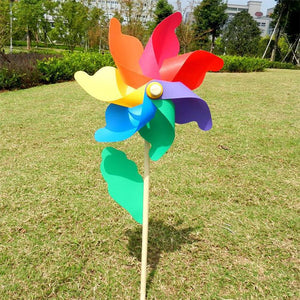 Colorful wooden rob windmill Wind Spinners Sunflower Lawn Pinwheels Windmill Party Pinwheel Wind Spinner for Garden Decor #YO - AFH Home Decore