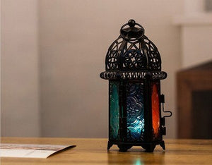 PINNY European Classical Iron Candlestick Metal Multicolored Glass Candle Holder Lantern Home Decoration Accessories - AFH Home Decore