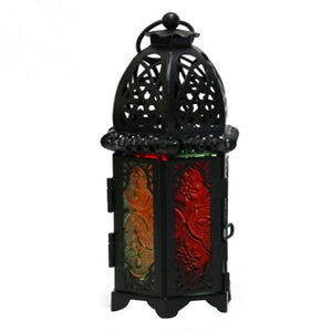 Moroccan Style Hollow Candle Holder Votive Candle Holder Hanging Lantern Wrought Iron Glass Lantern Candlestick Home Decoration - AFH Home Decore
