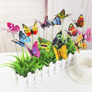 10PCS Double Layer 3D Butterflies Stakes Waterproof Butterfly Garden Yard Decorative Stake Ornament Indoor Outdoor Party Decor - AFH Home Decore