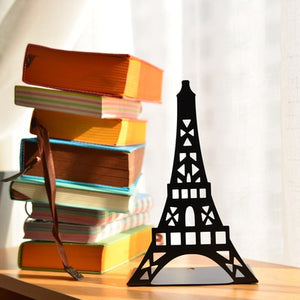 2 pcs/pair Fashion Eiffel Tower Design Bookshelf Large Metal Bookend Desk Holder Stand for Books Organizer Gift Stationery - AFH Home Decore
