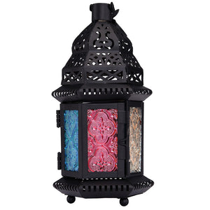Wedding Party Home Decoration Retro Moroccan Style Matte Cast Handmade Magic Rainbow Candle Holder Lantern Gifts & Decor - AFH Home Decore