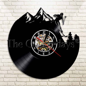 1Piece Personality Skiing Vinyl Record Wall Clock Extreme Sport Modern Home Decorative Watch Time Wall Art Skiing Unique Gift - AFH Home Decore