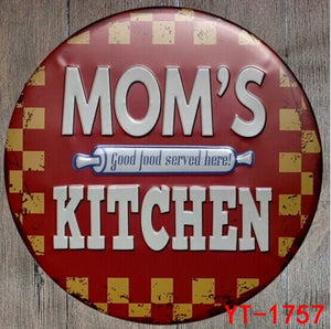 New Style DIA30CM MOMS KITCHEN Tin Sign Metal Poster Iron Painting Wall Bar & Home Metal Art Decor Wall Sticker Iron Paintings