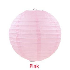 3Size Pink White Paper Lanterns Round Foldable Festival Hanging Lanterns Wedding Outdoor Party Diy Decorations Room Ornaments - AFH Home Decore