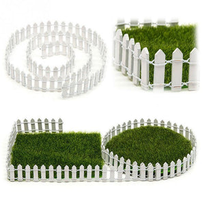 100*5cm/100*3cm Miniature Small Wood Fence DIY Fairy Garden Micro Dollhouse Plant Pot Decor Bonsai Ornament White/Coffee #116 - AFH Home Decore