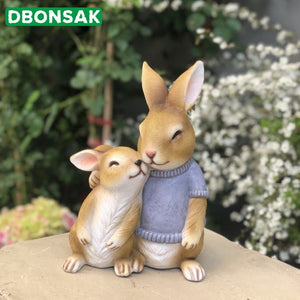Rabbit Garden Statue Resin Rabbit Gift For Child Doll Micro Landscape Anime Figures Simulation Animal Home Garden Decoration