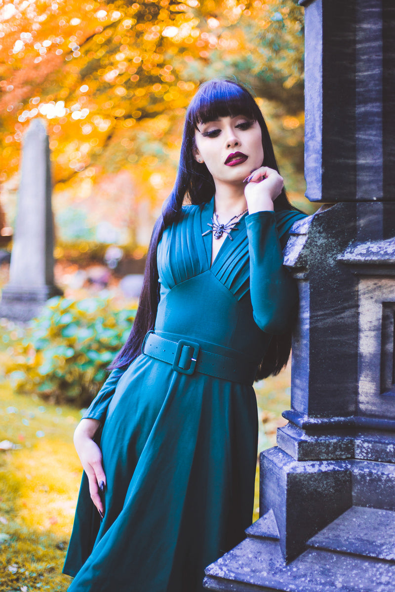 Claudia Dress in Forest Green