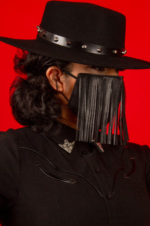 Pleather Fringe Mask