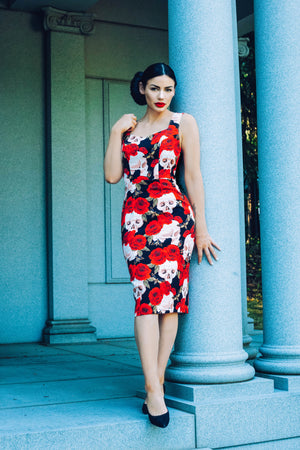 Rizzo Pencil Dress (Skulls and Roses)
