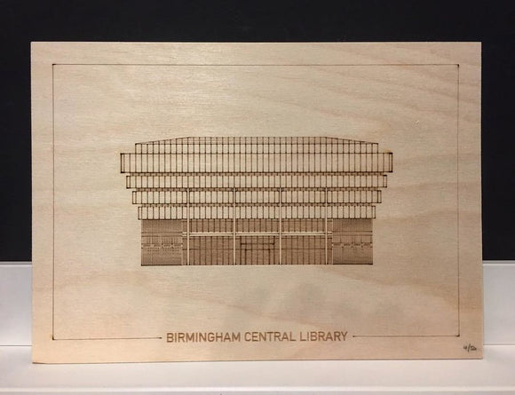 Birmingham Central Library Elevation Engraving