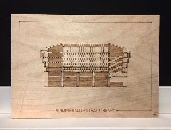 Lasercut: Birmingham Central Library Section Engraving