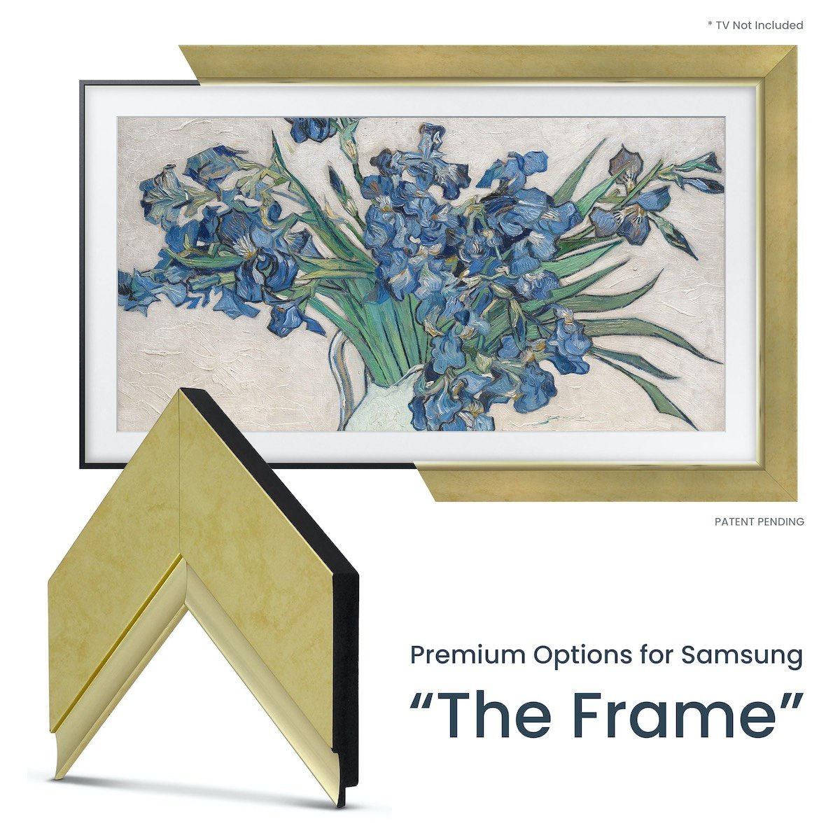 gold contemporary samsung frame tv
