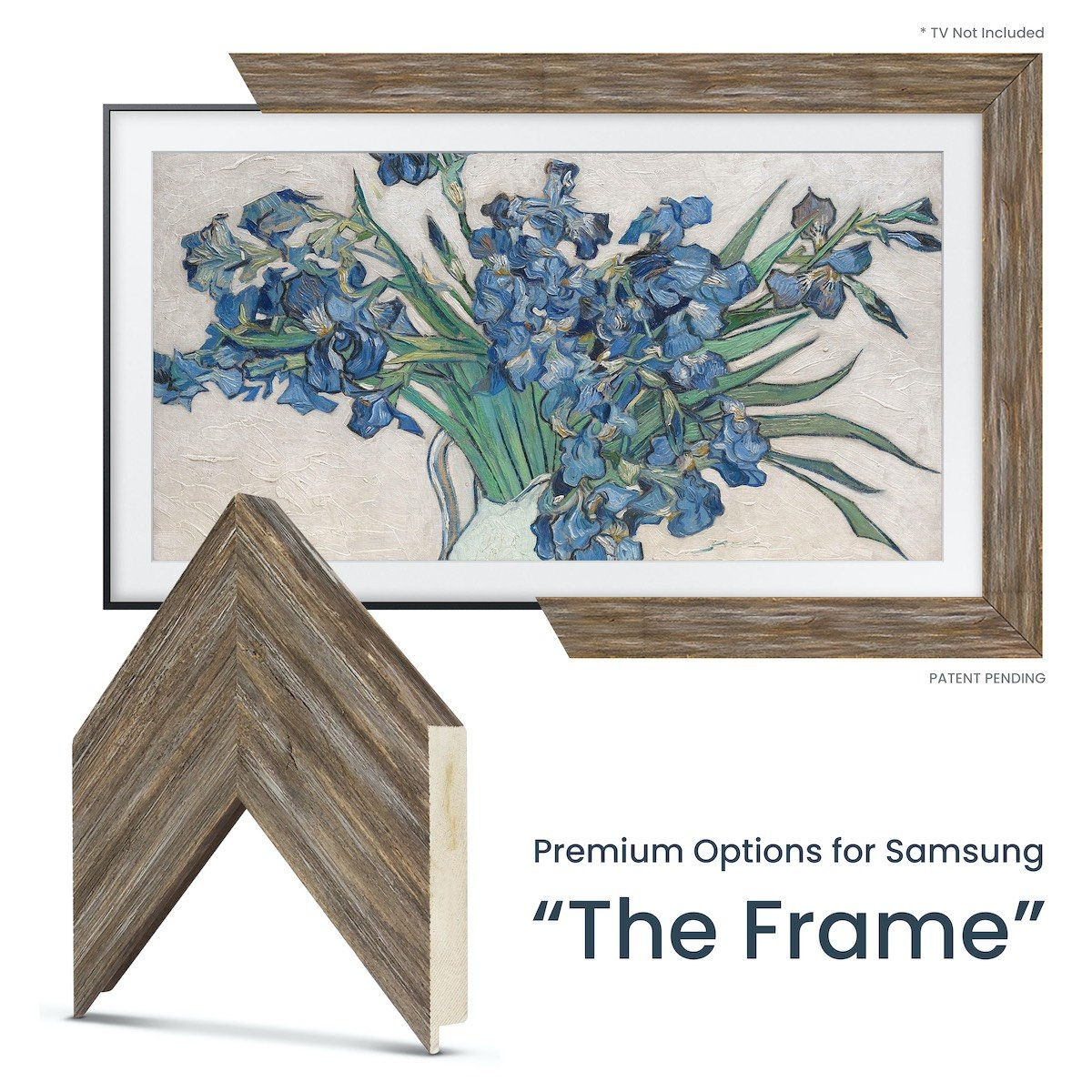 distressed reclaimed wood tv frame for samsung the frame tv