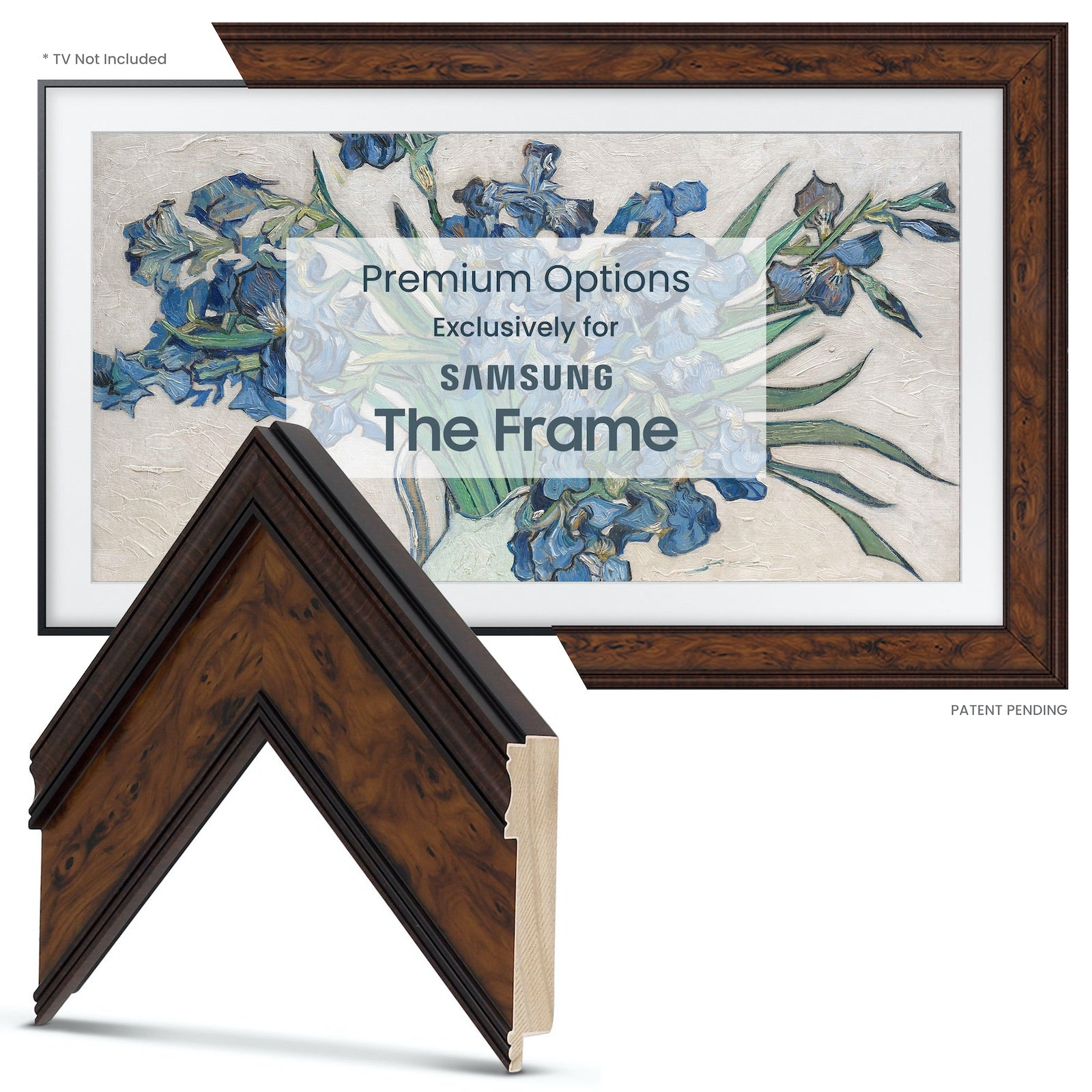 Samsung Frame TV Brown Bezel Wood Burlwood Mahogany