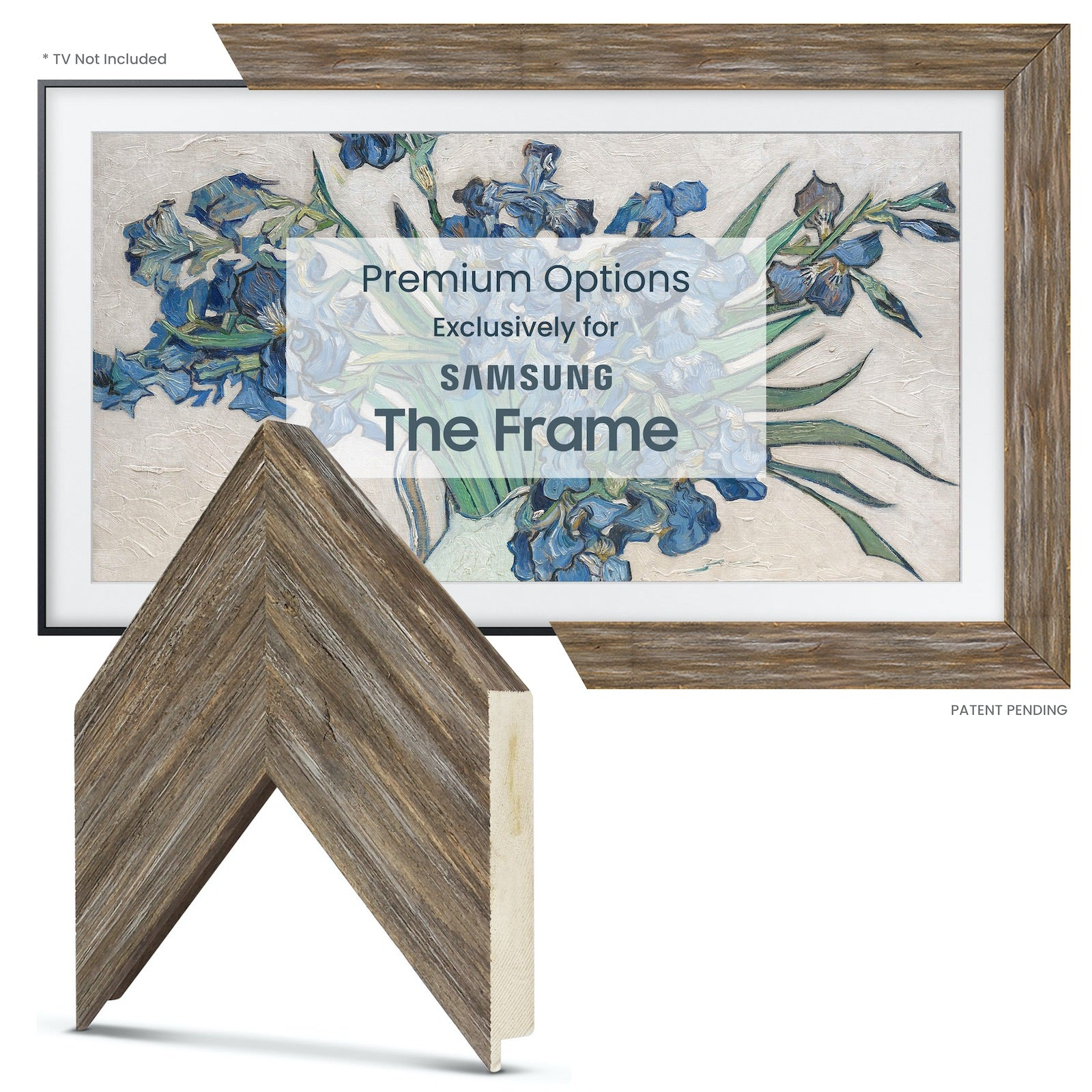 Samsung Frame tv brown bezel barn wood