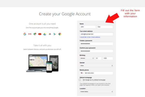 New Google account instructions