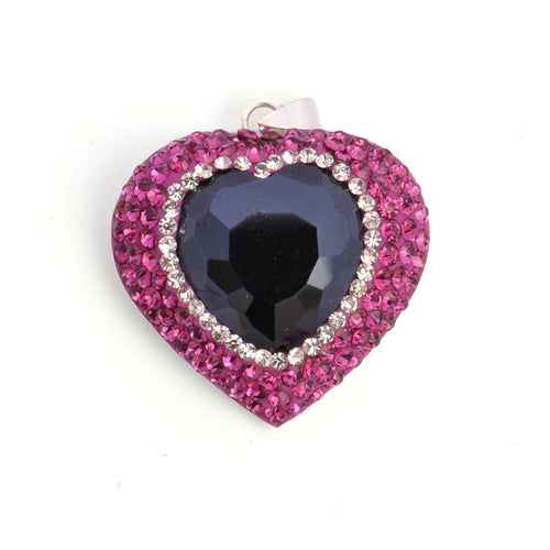 Black and Pink Heart Pendant