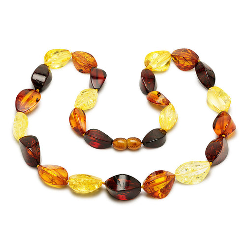 Amber necklace of irregular pieces. Rainbow