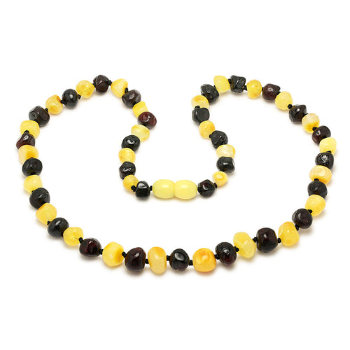 Necklace of lemon and cherry amber