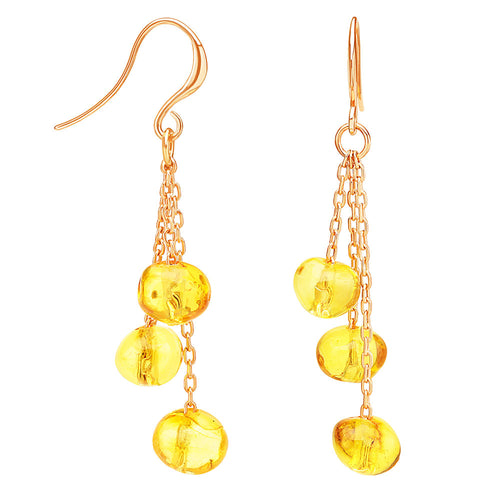 Amber yellow earrings on pink gold finishing chain