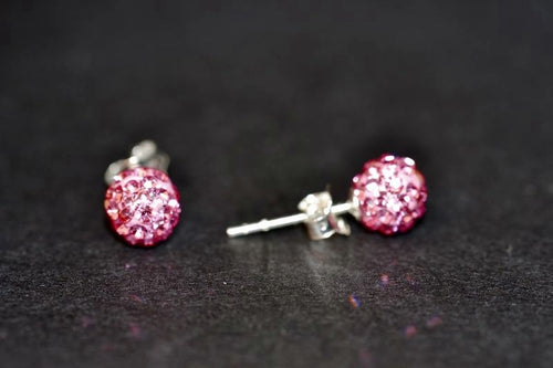Small pink ball earrings