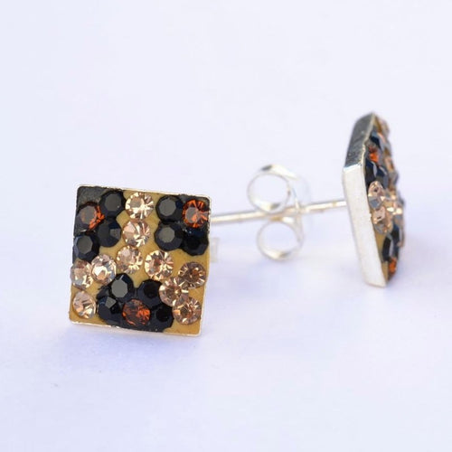 Squared Colored Earrings 8mm