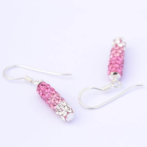 Rose and White Cylindrical Earrings