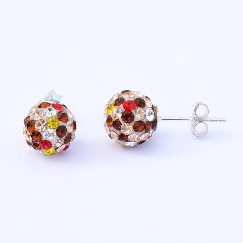Ball Earrings with Brown, Yellow and White Colors