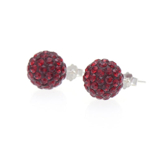 Ball Red Siam Earrings 10 mm
