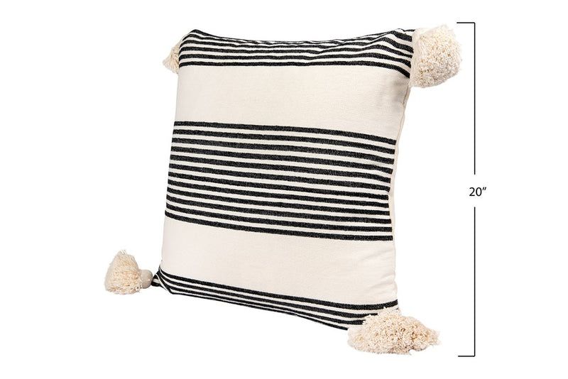 "20"" Square Cotton & Chenille Woven Striped Pillow w/ Tassels, Black"