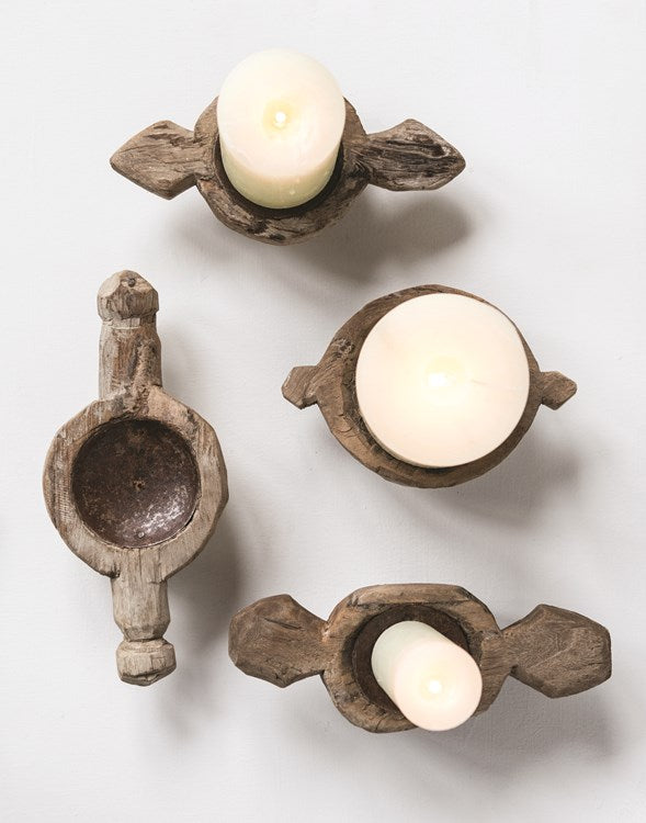 "Found Wood Candle Stand (Holds 2-4"" Pillar) (Each One Will Vary)"