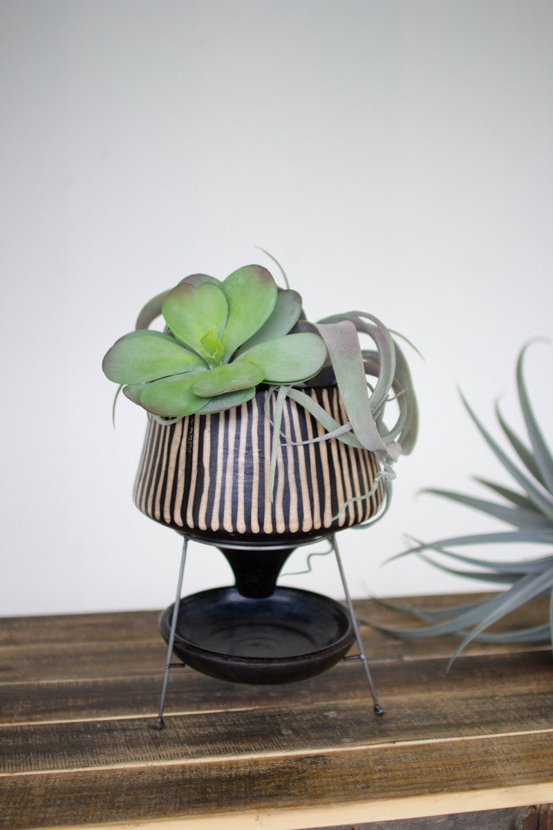 Black Lenca Stripe Planter on Metal Stand