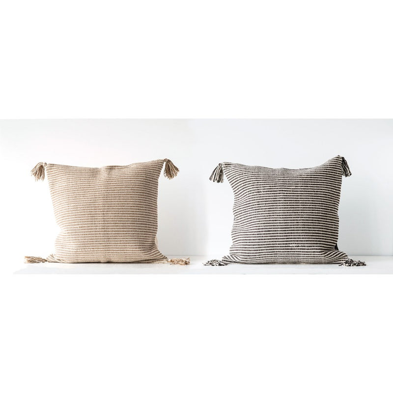 Square Cotton Woven Striped Pillow w/ Tassels, 2 Colors