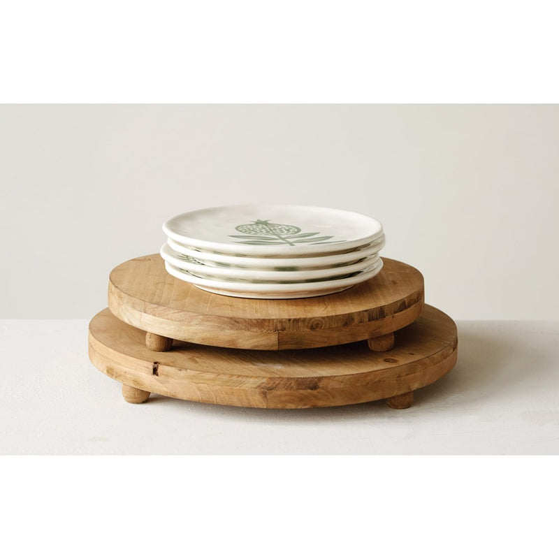 3R Studios Round Natural Wood Pedestal Trays ( Set of 2 )