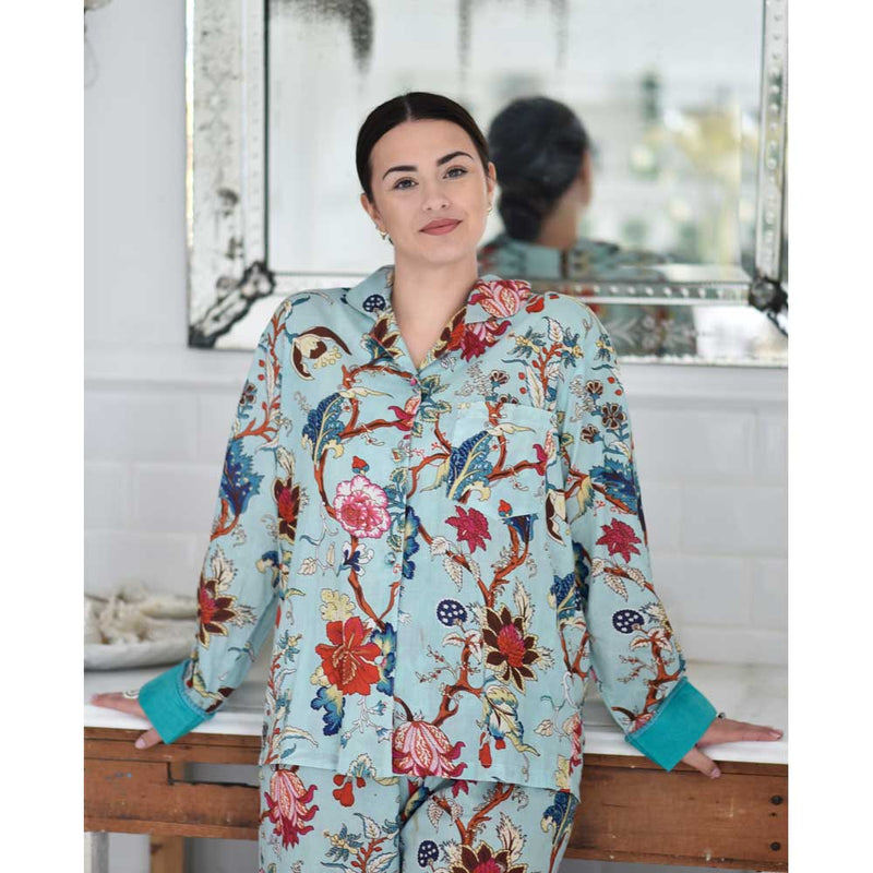 Ladies Blue Floral Print Cotton Pyjamas
