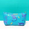 Blue Faux Leather Monkey Make Up Bag