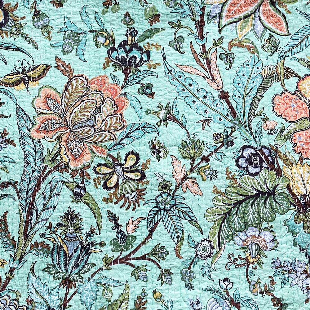 Mint Exotic Flowers Kantha Throw