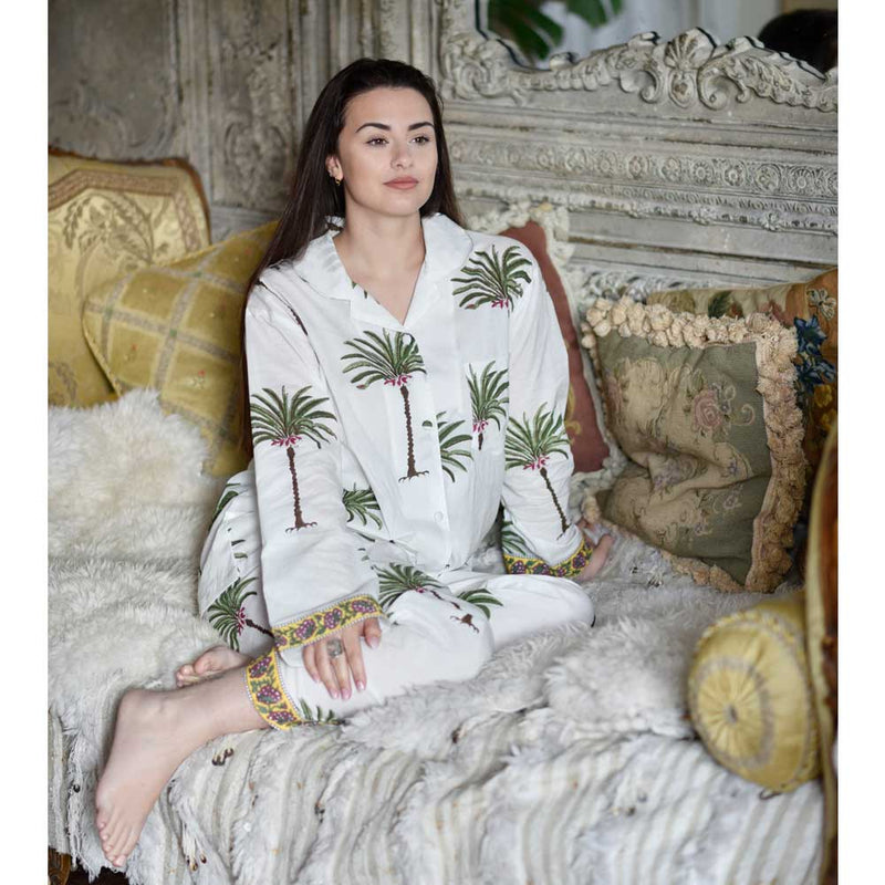 Ladies Green Palm Tree Print Cotton Pyjamas