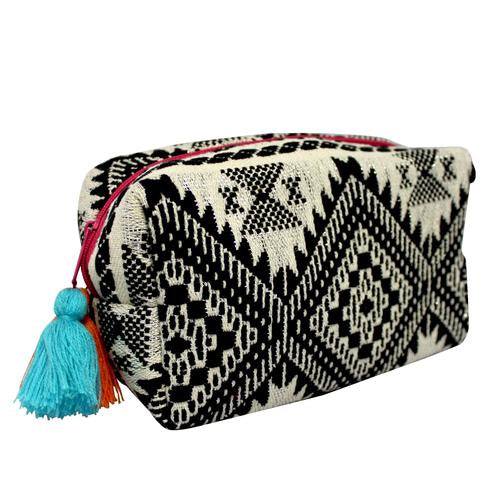 Embellished Black and White Jacquard Cosmetic Pouch Bag