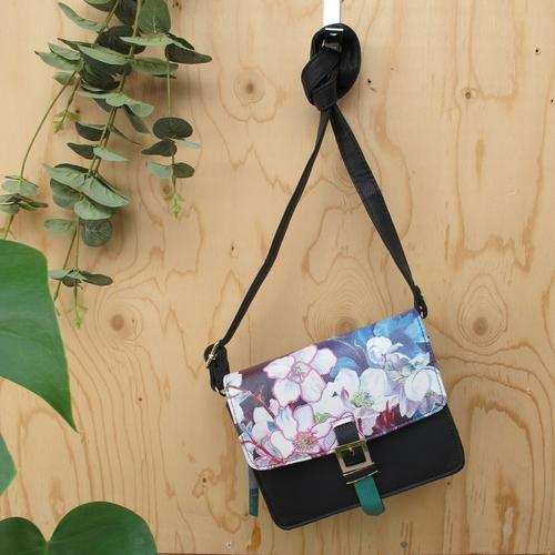 Black and Pink Faux Leather Framed Floral Mini Bag