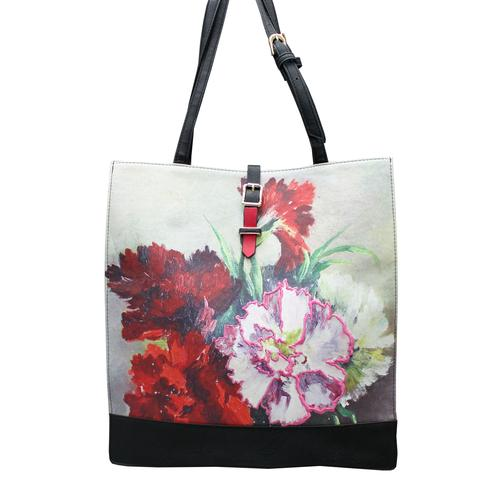 Black and Red Faux Leather Framed Floral Tote Bag