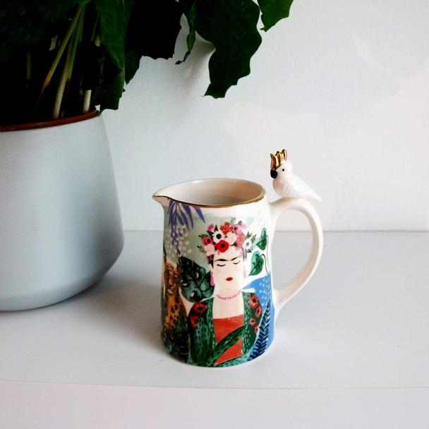 Illustrated Tropical Frida Kahlo Jug