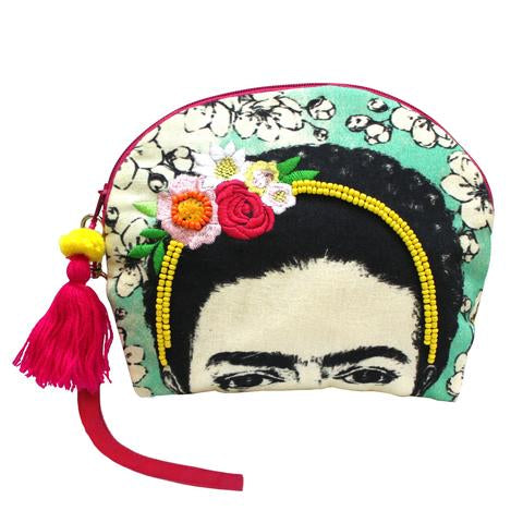 Frida Kahlo Portrait Illustrated Make Up Bag