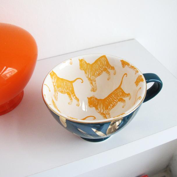 Teal Ceramic Tiger Print Cup