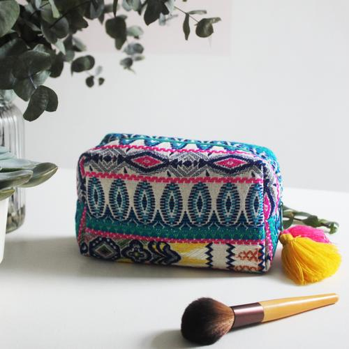 Embellished Turquoise Jacquard Cosmetic Pouch Bag
