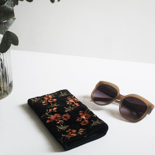 Eden Velvet Floral Bee Glasses Case